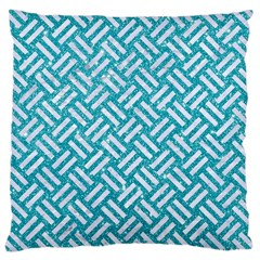 Woven2 White Marble & Turquoise Glitter Large Cushion Case (two Sides) by trendistuff