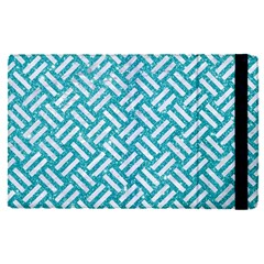 Woven2 White Marble & Turquoise Glitter Apple Ipad Pro 12 9   Flip Case