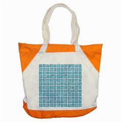 Woven1 White Marble & Turquoise Glitter (r) Accent Tote Bag by trendistuff