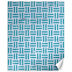 Woven1 White Marble & Turquoise Glitter (r) Canvas 11  X 14   by trendistuff