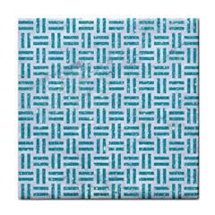 Woven1 White Marble & Turquoise Glitter (r) Face Towel by trendistuff
