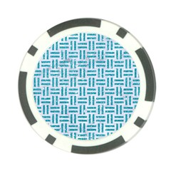 Woven1 White Marble & Turquoise Glitter (r) Poker Chip Card Guard (10 Pack) by trendistuff