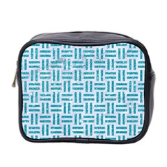 Woven1 White Marble & Turquoise Glitter (r) Mini Toiletries Bag 2 Side by trendistuff