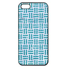 Woven1 White Marble & Turquoise Glitter (r) Apple Iphone 5 Seamless Case (black) by trendistuff