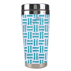 Woven1 White Marble & Turquoise Glitter (r) Stainless Steel Travel Tumblers by trendistuff