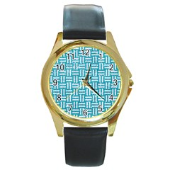 Woven1 White Marble & Turquoise Glitter Round Gold Metal Watch