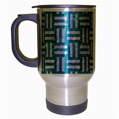 Woven1 White Marble & Turquoise Glitter Travel Mug (silver Gray) by trendistuff