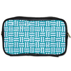 Woven1 White Marble & Turquoise Glitter Toiletries Bags by trendistuff
