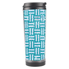Woven1 White Marble & Turquoise Glitter Travel Tumbler by trendistuff