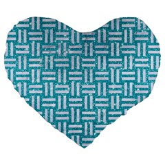 Woven1 White Marble & Turquoise Glitter Large 19  Premium Flano Heart Shape Cushions by trendistuff
