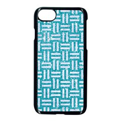 Woven1 White Marble & Turquoise Glitter Apple Iphone 7 Seamless Case (black) by trendistuff