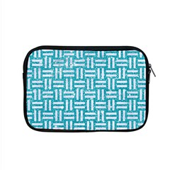 Woven1 White Marble & Turquoise Glitter Apple Macbook Pro 15  Zipper Case by trendistuff