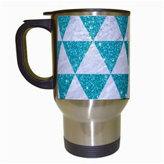 Triangle3 White Marble & Turquoise Glitter Travel Mugs (white) by trendistuff