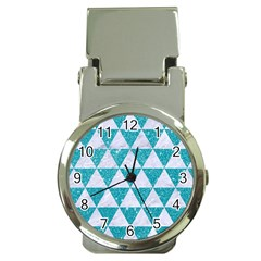 Triangle3 White Marble & Turquoise Glitter Money Clip Watches by trendistuff