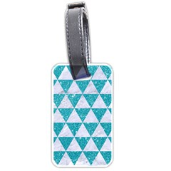 Triangle3 White Marble & Turquoise Glitter Luggage Tags (two Sides) by trendistuff