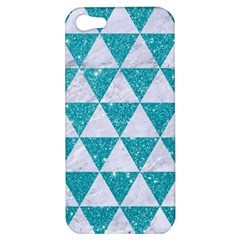 Triangle3 White Marble & Turquoise Glitter Apple Iphone 5 Hardshell Case by trendistuff
