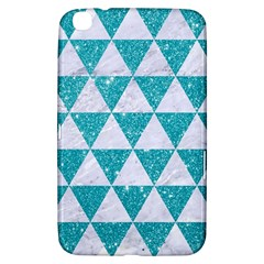 Triangle3 White Marble & Turquoise Glitter Samsung Galaxy Tab 3 (8 ) T3100 Hardshell Case  by trendistuff