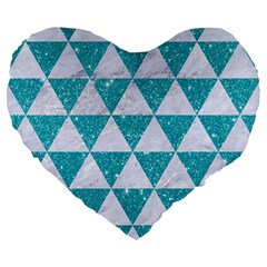 Triangle3 White Marble & Turquoise Glitter Large 19  Premium Flano Heart Shape Cushions by trendistuff