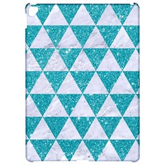 Triangle3 White Marble & Turquoise Glitter Apple Ipad Pro 12 9   Hardshell Case by trendistuff