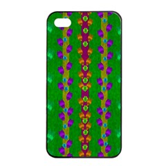 Roses Climbing To The Sun With Grace And Honor Apple Iphone 4/4s Seamless Case (black) by pepitasart