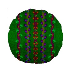 Roses Climbing To The Sun With Grace And Honor Standard 15  Premium Round Cushions by pepitasart