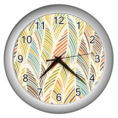 Decorative  Seamless Pattern Wall Clocks (silver)  by TastefulDesigns