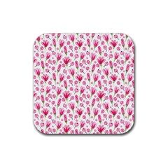 Watercolor Spring Flowers Pattern Rubber Square Coaster (4 Pack)  by TastefulDesigns