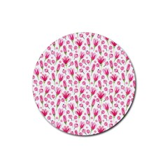 Watercolor Spring Flowers Pattern Rubber Coaster (round)  by TastefulDesigns