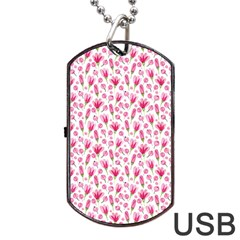Watercolor Spring Flowers Pattern Dog Tag Usb Flash (two Sides) by TastefulDesigns