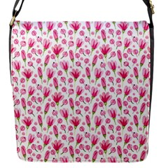 Watercolor Spring Flowers Pattern Flap Messenger Bag (s)