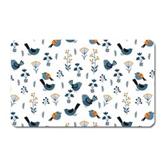 Spring Flowers And Birds Pattern Magnet (rectangular) by TastefulDesigns