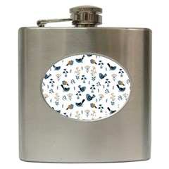 Spring Flowers And Birds Pattern Hip Flask (6 Oz) by TastefulDesigns