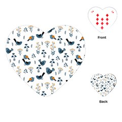 Spring Flowers And Birds Pattern Playing Cards (heart)  by TastefulDesigns