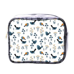Spring Flowers And Birds Pattern Mini Toiletries Bags by TastefulDesigns