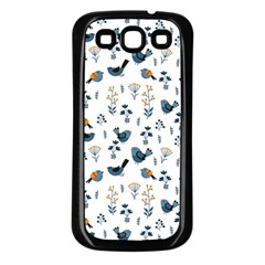 Spring Flowers And Birds Pattern Samsung Galaxy S3 Back Case (black) by TastefulDesigns