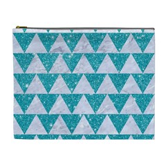 Triangle2 White Marble & Turquoise Glitter Cosmetic Bag (xl) by trendistuff