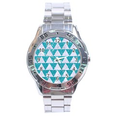 Triangle2 White Marble & Turquoise Glitter Stainless Steel Analogue Watch by trendistuff