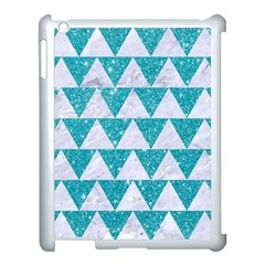 Triangle2 White Marble & Turquoise Glitter Apple Ipad 3/4 Case (white) by trendistuff