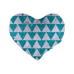 Triangle2 White Marble & Turquoise Glitter Standard 16  Premium Flano Heart Shape Cushions by trendistuff