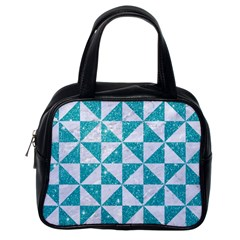 Triangle1 White Marble & Turquoise Glitter Classic Handbags (one Side) by trendistuff