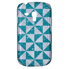 Triangle1 White Marble & Turquoise Glitter Galaxy S3 Mini by trendistuff