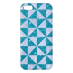 Triangle1 White Marble & Turquoise Glitter Apple Iphone 5 Premium Hardshell Case by trendistuff