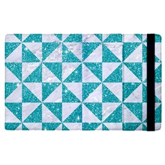 Triangle1 White Marble & Turquoise Glitter Apple Ipad Pro 12 9   Flip Case