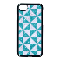Triangle1 White Marble & Turquoise Glitter Apple Iphone 8 Seamless Case (black) by trendistuff