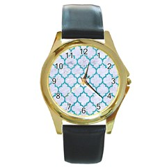 Tile1 White Marble & Turquoise Glitter (r) Round Gold Metal Watch