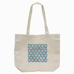 Tile1 White Marble & Turquoise Glitter (r) Tote Bag (cream) by trendistuff