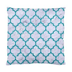 Tile1 White Marble & Turquoise Glitter (r) Standard Cushion Case (one Side) by trendistuff