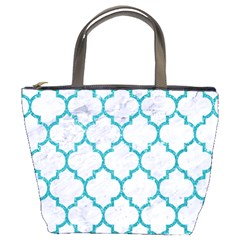 Tile1 White Marble & Turquoise Glitter (r) Bucket Bags by trendistuff
