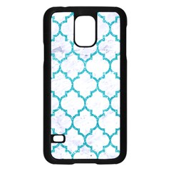 Tile1 White Marble & Turquoise Glitter (r) Samsung Galaxy S5 Case (black) by trendistuff