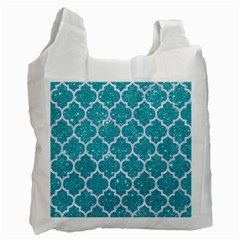 Tile1 White Marble & Turquoise Glitter Recycle Bag (two Side)  by trendistuff